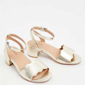 Torrid  WW Gold Faux Leather Scalloped Block Heel